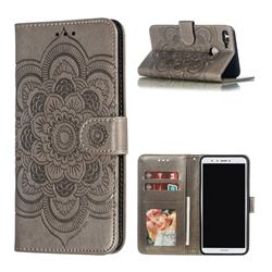 Intricate Embossing Datura Solar Leather Wallet Case for Huawei Y9 (2018) - Gray