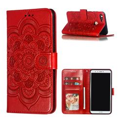 Intricate Embossing Datura Solar Leather Wallet Case for Huawei Y9 (2018) - Red