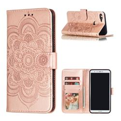 Intricate Embossing Datura Solar Leather Wallet Case for Huawei Y9 (2018) - Rose Gold