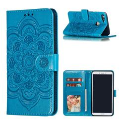 Intricate Embossing Datura Solar Leather Wallet Case for Huawei Y9 (2018) - Blue