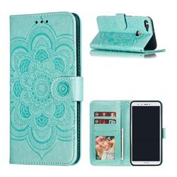 Intricate Embossing Datura Solar Leather Wallet Case for Huawei Y9 (2018) - Green