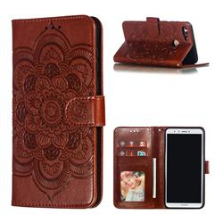 Intricate Embossing Datura Solar Leather Wallet Case for Huawei Y9 (2018) - Brown