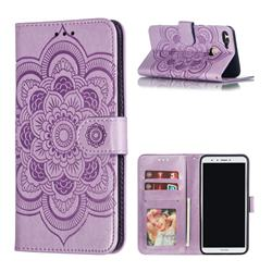 Intricate Embossing Datura Solar Leather Wallet Case for Huawei Y9 (2018) - Purple
