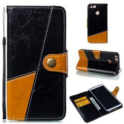 Retro Magnetic Stitching Wallet Flip Cover for Huawei Y9 (2018) - Black
