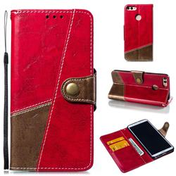 Retro Magnetic Stitching Wallet Flip Cover for Huawei Y9 (2018) - Rose Red