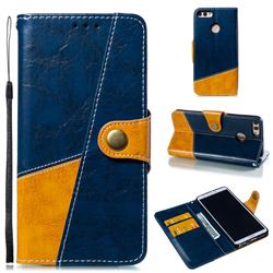 Retro Magnetic Stitching Wallet Flip Cover for Huawei Y9 (2018) - Blue