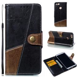 Retro Magnetic Stitching Wallet Flip Cover for Huawei Y9 (2018) - Dark Gray