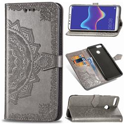 Embossing Imprint Mandala Flower Leather Wallet Case for Huawei Y9 (2018) - Gray