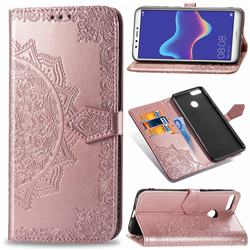 Embossing Imprint Mandala Flower Leather Wallet Case for Huawei Y9 (2018) - Rose Gold