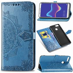 Embossing Imprint Mandala Flower Leather Wallet Case for Huawei Y9 (2018) - Blue