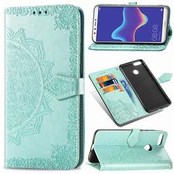 Embossing Imprint Mandala Flower Leather Wallet Case for Huawei Y9 (2018) - Green
