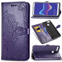 Embossing Imprint Mandala Flower Leather Wallet Case for Huawei Y9 (2018) - Purple