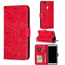Intricate Embossing Lace Jasmine Flower Leather Wallet Case for Huawei Y9 (2018) - Red