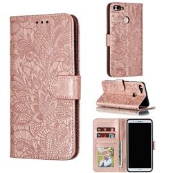 Intricate Embossing Lace Jasmine Flower Leather Wallet Case for Huawei Y9 (2018) - Rose Gold
