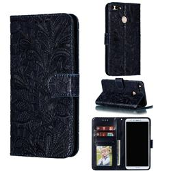 Intricate Embossing Lace Jasmine Flower Leather Wallet Case for Huawei Y9 (2018) - Dark Blue