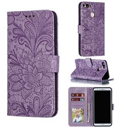Intricate Embossing Lace Jasmine Flower Leather Wallet Case for Huawei Y9 (2018) - Purple