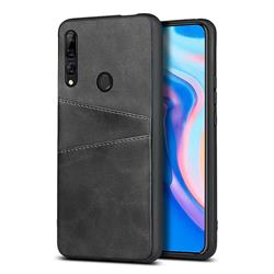 Simple Calf Card Slots Mobile Phone Back Cover for Huawei Y9 Prime (2019) - Black