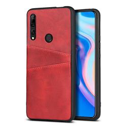 Simple Calf Card Slots Mobile Phone Back Cover for Huawei Y9 Prime (2019) - Red
