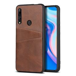 Simple Calf Card Slots Mobile Phone Back Cover for Huawei Y9 Prime (2019) - Coffee