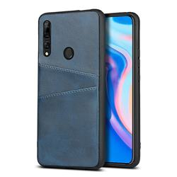 Simple Calf Card Slots Mobile Phone Back Cover for Huawei Y9 Prime (2019) - Blue
