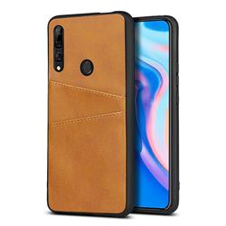 Simple Calf Card Slots Mobile Phone Back Cover for Huawei Y9 Prime (2019) - Yellow