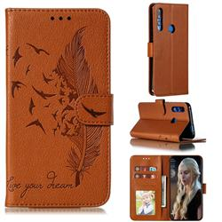 Intricate Embossing Lychee Feather Bird Leather Wallet Case for Huawei Y9 Prime (2019) - Brown