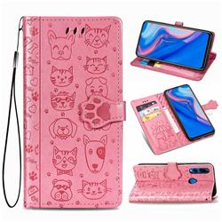 Embossing Dog Paw Kitten and Puppy Leather Wallet Case for Huawei Y9 Prime (2019) - Pink