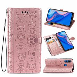 Embossing Dog Paw Kitten and Puppy Leather Wallet Case for Huawei Y9 Prime (2019) - Rose Gold