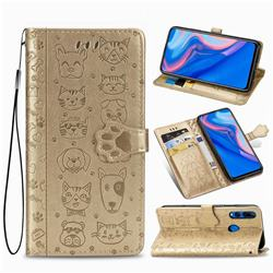 Embossing Dog Paw Kitten and Puppy Leather Wallet Case for Huawei Y9 Prime (2019) - Champagne Gold