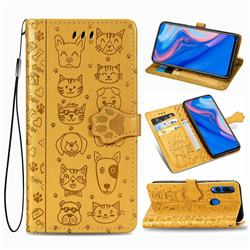 Embossing Dog Paw Kitten and Puppy Leather Wallet Case for Huawei Y9 Prime (2019) - Yellow