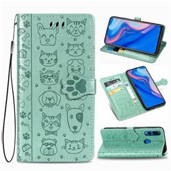 Embossing Dog Paw Kitten and Puppy Leather Wallet Case for Huawei Y9 Prime (2019) - Green