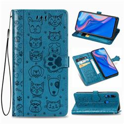 Embossing Dog Paw Kitten and Puppy Leather Wallet Case for Huawei Y9 Prime (2019) - Blue