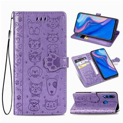 Embossing Dog Paw Kitten and Puppy Leather Wallet Case for Huawei Y9 Prime (2019) - Purple