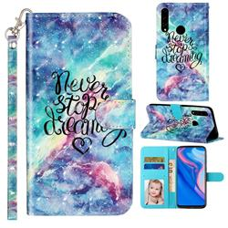 Blue Starry Sky 3D Leather Phone Holster Wallet Case for Huawei Y9 Prime (2019)