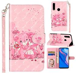 Pink Bear 3D Leather Phone Holster Wallet Case for Huawei Y9 Prime (2019)