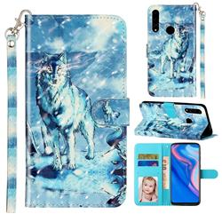 Snow Wolf 3D Leather Phone Holster Wallet Case for Huawei Y9 Prime (2019)