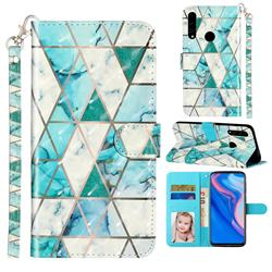 Stitching Marble 3D Leather Phone Holster Wallet Case for Huawei Y9 Prime (2019)