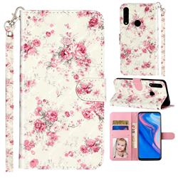 Rambler Rose Flower 3D Leather Phone Holster Wallet Case for Huawei Y9 Prime (2019)