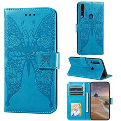 Intricate Embossing Rose Flower Butterfly Leather Wallet Case for Huawei Y9 Prime (2019) - Blue
