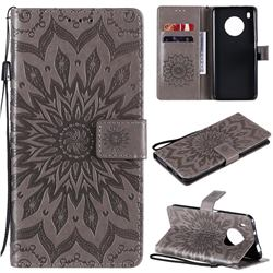 Embossing Sunflower Leather Wallet Case for Huawei Y9a - Gray