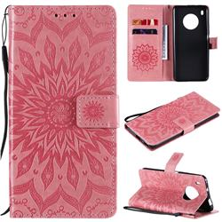 Embossing Sunflower Leather Wallet Case for Huawei Y9a - Pink