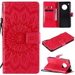 Embossing Sunflower Leather Wallet Case for Huawei Y9a - Red