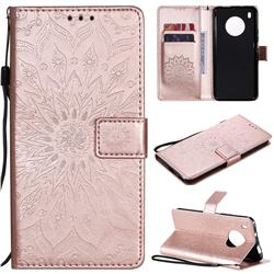 Embossing Sunflower Leather Wallet Case for Huawei Y9a - Rose Gold