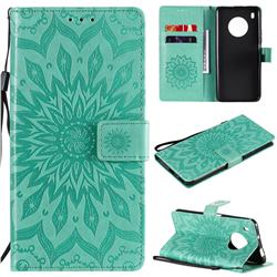 Embossing Sunflower Leather Wallet Case for Huawei Y9a - Green