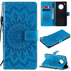 Embossing Sunflower Leather Wallet Case for Huawei Y9a - Blue