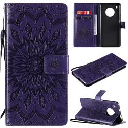 Embossing Sunflower Leather Wallet Case for Huawei Y9a - Purple