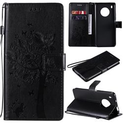 Embossing Butterfly Tree Leather Wallet Case for Huawei Y9a - Black