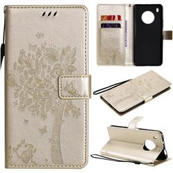 Embossing Butterfly Tree Leather Wallet Case for Huawei Y9a - Champagne