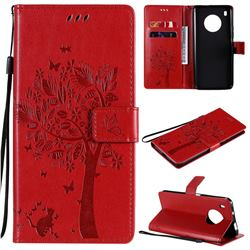 Embossing Butterfly Tree Leather Wallet Case for Huawei Y9a - Red