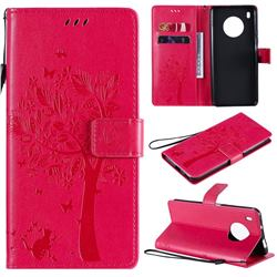 Embossing Butterfly Tree Leather Wallet Case for Huawei Y9a - Rose
